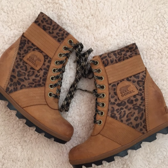 50a863c0e4502 New Sorel Brown Lexie Leather Leopard Wedge. M_5c0abebeaa57193a2e2b8f52
